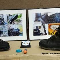 à droite les chaussures après 1000 heures d'utilisation