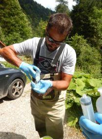 injection de l'eau prélevée pour l'analyse du taux d'oxygéne