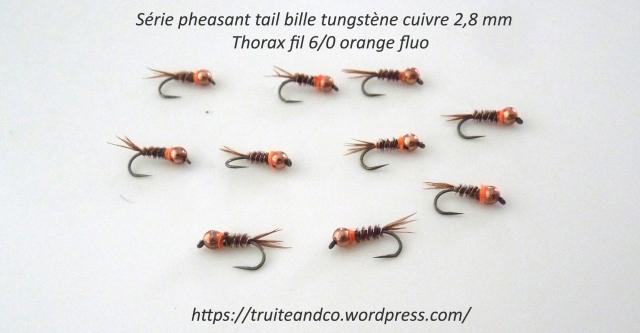 Pheasant tail bille tungstène cuivre 2,8 mm Thorax orange fluo